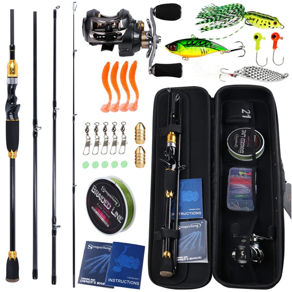 Sougayilang 1.8m 2.1m Baitcsting Rod Full Kit 4 Section M Power Carbon Fishing Rod 100M Fishing Line Lures Hooks Jig Head Pesca|Rod Combo| |  - title=