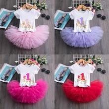 Красивое Летнее платье для малышей, хлопковая одежда для детей возрастом от 1 года 1st на день рождения вечерние принцесса платье для девочки ...