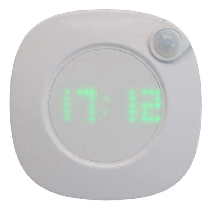 Smart Motion Sensor Night Light, Adjustable LED Digital Clock Lamp Closet Stair Wall Lights for Bathroom Kitchen Hallway