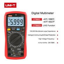 UNI-T multímetro digital verdadeiro rms ut890c ut890d + faixa manual ac dc frequência capacitância temperatura tester backlight ncv