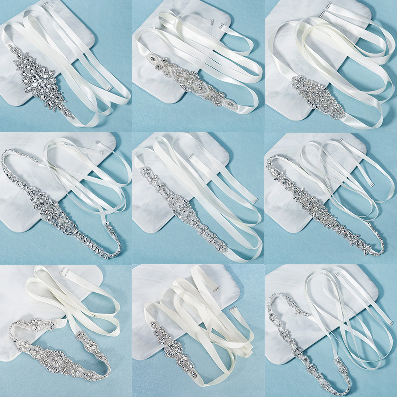Miallo Bridal Rhinestone Belts for Women Wedding Accessories Crystal Fashion Prom Dress Belt Strass Bride Sash Bridesmaid Gift
