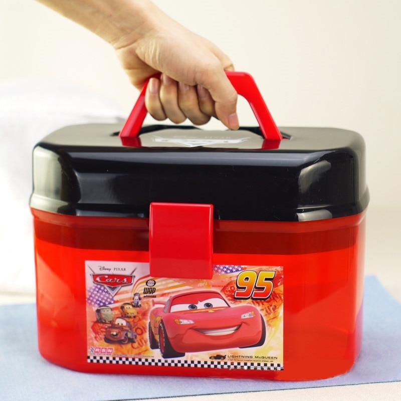 Disney Pixar arabalar 2 3 yıldırım Mcqueen taşınabilir saklama kutusu çift katmanlar oyuncak arabalar noel yeni yıl hediye çocuklar için