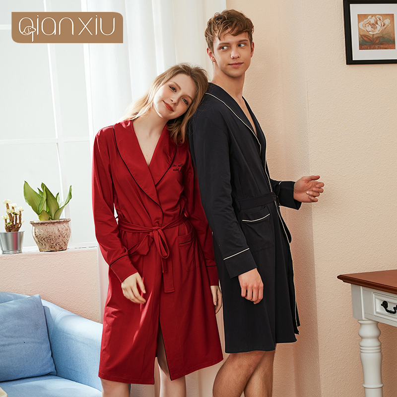 Coton couple chemise de nuit automne nouveau femmes coton chemise de nuit dames simple mode dentelle robe