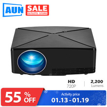 AUN C80 HD MINI Projektor, 1280x720 P, Video Beamer, 3D Projektor. Unterstützung 1080 P, HD-IN, USB, (Optional C80 UP Android version WiFi)(China)