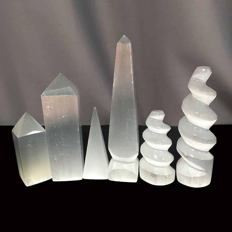 סיטונאי טבעי קוורץ גבס סלניום מנורת קריסטל פירמידת מגדל LED צבע להבת אור ריפוי ויקה אבן בית תפאורה DLT