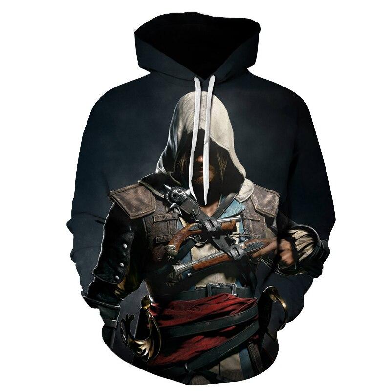 Assassin's Creed, пуловер с капюшоном, толстовка в стиле хип-хоп, толстовка с 3D принтом, мужская и женская повседневная одежда, Азиатский Размер 6XL