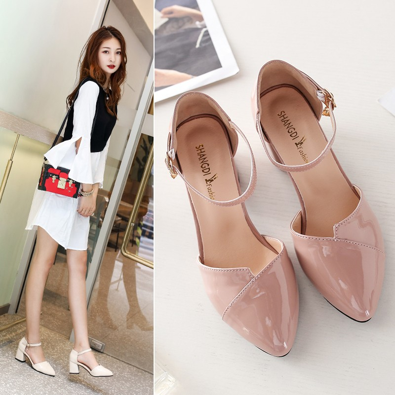2019 Summer New High Heels Fashion Sexy Pointed Shoes Banquet Party High Heels Ladies Sandals Square Heel Zapatos Mujer A10