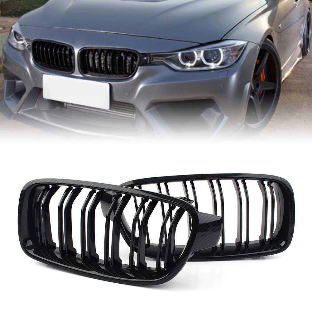 Gloss Black Zealhot Carbon Fiber Grille Fit For BMW 3 Series 2012-2018 F30 F31 F35 Replacement Conversion Grill