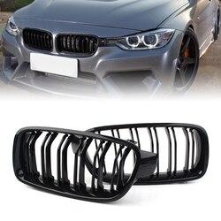 Przedni Grill podwójna listwa maskownica do BMW serii 3 F30 F31 318i 320i 328i 2012 2013 2014 2015 2016 2017 2018 z włókna węglowego M3 stylizacji