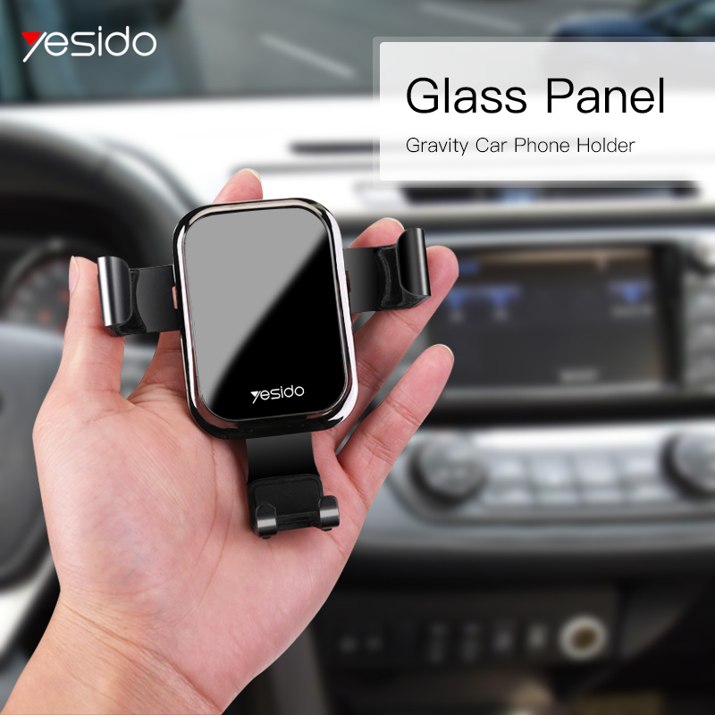 Yesido C46 Luxury Tempered Glass Gravity Car Phone Holder Air Vent Car Mount Holder For IPhone X XS Samsung S10 Mobile Car Stand