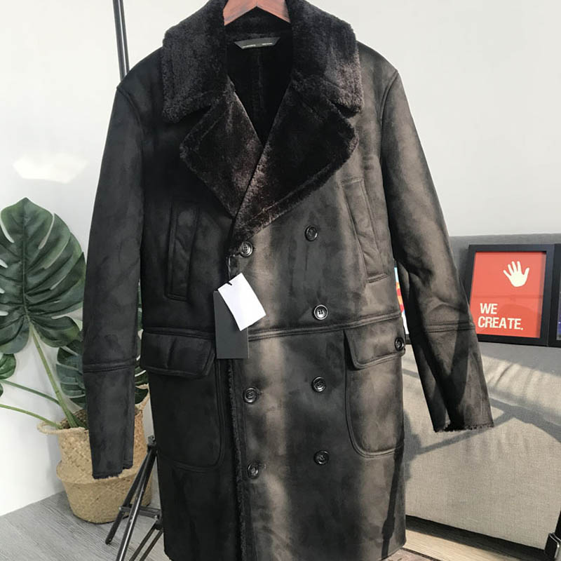 Winter Mens Shearling Overcoat Thick Fur Lining Warm Long Jacket Double Breasted Suede Leather Jacket Motorcycle Outwear Coat