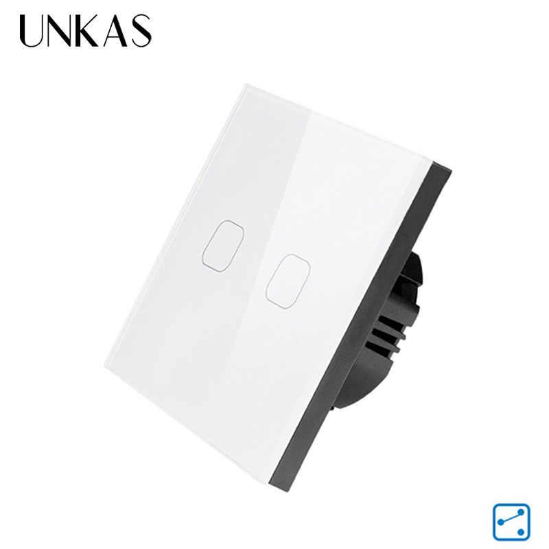 UNKAS ab standardı dokunmatik anahtarı 1/2 Gang 2 yollu kontrol duvar işık dokunmatik ekran anahtarı, kristal cam Panel, 170-240V