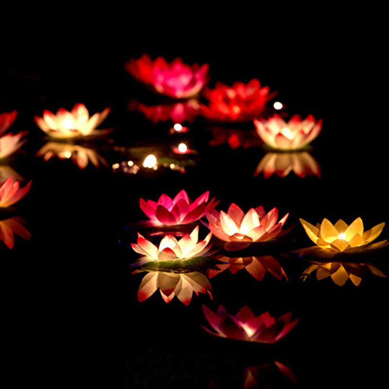LED Wishing Light Lotus Water Latern Lamp Flower Pool Light Colorful Water Latern Candle Lamp for Wedding Party Festival Decor