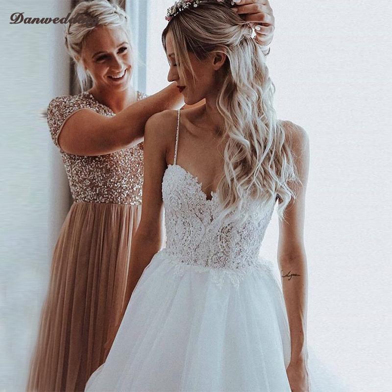 Elegant Tulle Sweetheart Neck Wedding Dresses Floor Length Lace Applique Beading A Line Bridal Dress Backless Boho Wedding Gowns