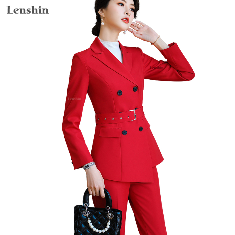 Lenshin High-quality 2 Piece  Double Breasted Set Pant Suit Fashion Blazer Office Lady Casual Designs Women Jacket And Pant