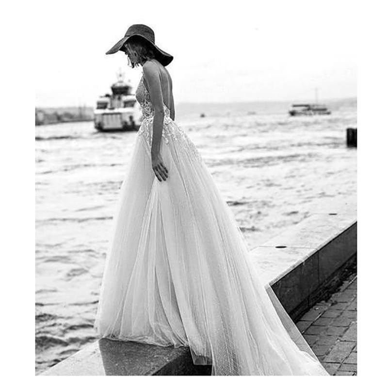 Sexy Spaghetti Strips A-Line Wedding Dresses Bridal Gowns Formal 2020 Beach Long Vestidos De Marriage