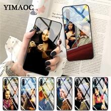 YIMAOC Van Gogh Mona Lisa Funny Art Girl Glass Case for Xiaomi Redmi 4X 6A note 5 6 7 Pro Mi 8 9 Lite A1 A2 F1