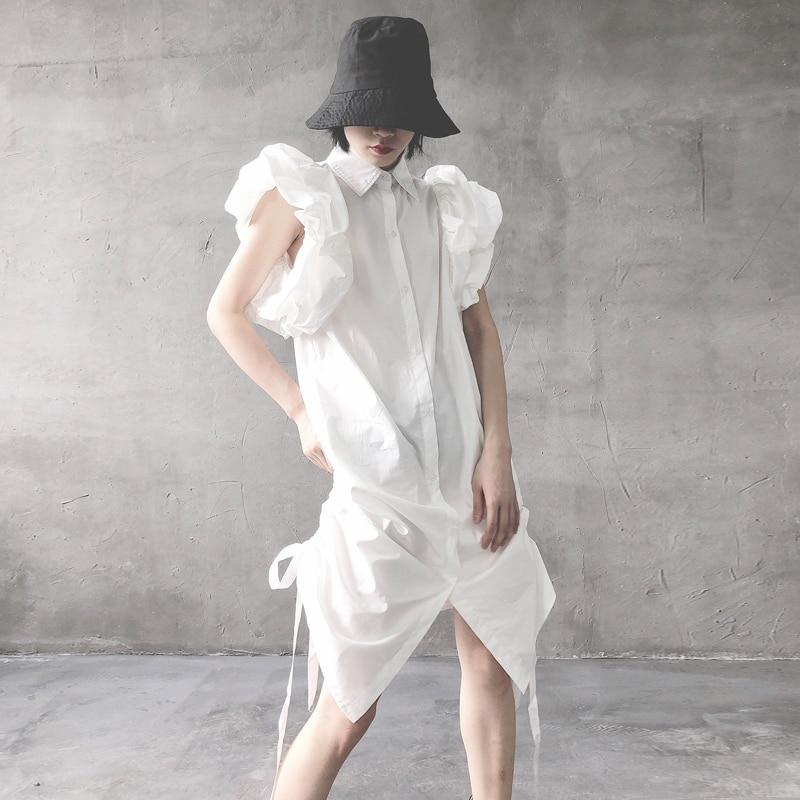 Mode manches bouffantes robe femme 2019 été nouveau taille haute femmes robe couleur unie décontracté femmes vêtements