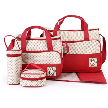 5pcs Fashionable Mother's Maternity Bag Baby Diaper Bag Sets Large-capacity Baby Stroller Nappy Bag Mommy Bag