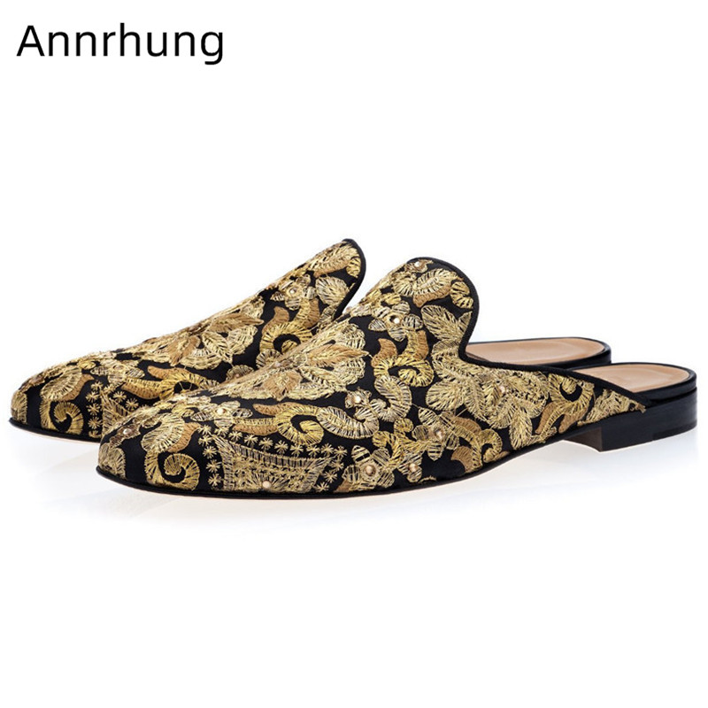 Luxury Gold Embroidery Men Slippers Slingbacks Mules Retro Round Toe Flat Heel Party Slippers Slip On Shoes Men Chaussure Homme