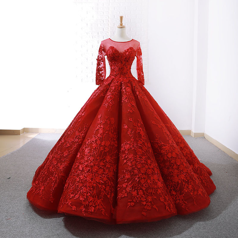 Dubai Sweetheart Sexy Red Luxury Wedding Dresses Appliques Lace
