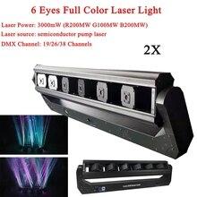 2Pcs/Lot 180W Disco Light 6 Eyes Full Color Laser Light DMX RGB Laser Projector Lights Dsico DJ Home Party Stage Effect Lighting