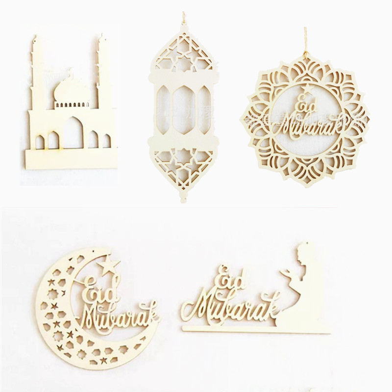 Wood Ramadan Decor Aid Mubarak Decoration Craft Moon Wooden Ramadan Home Hanging Ornament Pendant Islam Muslim Eid Mubarak Decor