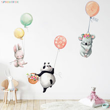 Vinyl Decorative Wall Stickers For Children Balloons Bunny Animal Wall Stickers For Kids Rooms Boys Girls