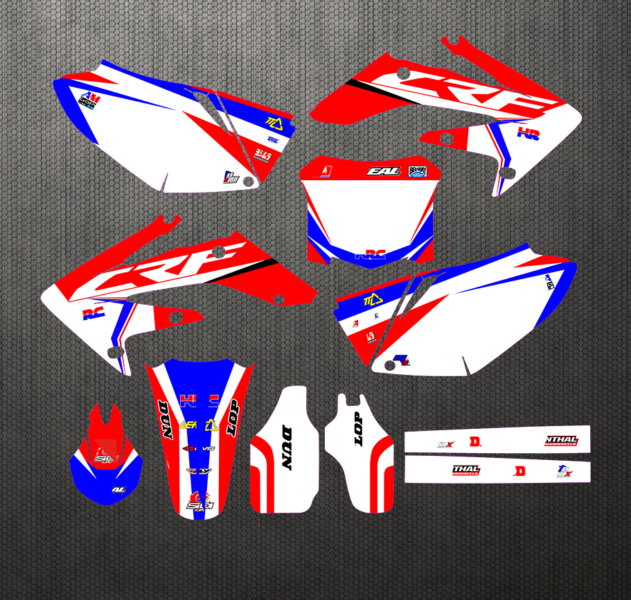 New Style TEAM GRAPHICS BACKGROUNDS DECALS STICKERS Kits For Honda CRF250 CRF250R CRF 250 250R 2004 2005 2006 2007 2008 2009