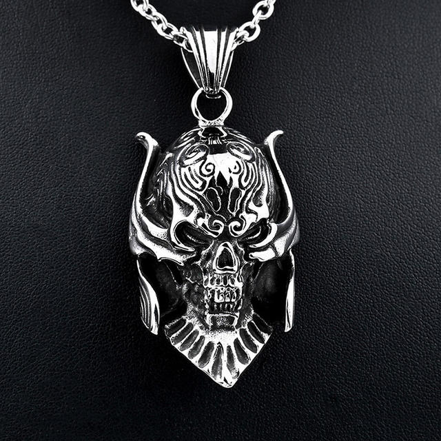 STAINLESS SEELL WAR SOLDIER SKULL NECKLACE