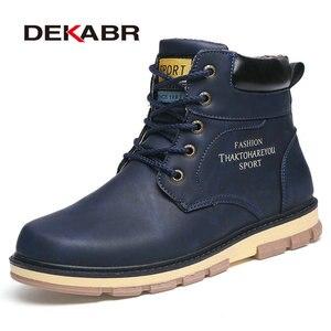 Image 1 - DEKABRยี่ห้อHot WARM WARMฤดูหนาวรองเท้าผู้ชายคุณภาพสูงPUหนังสวมใส่สบายๆรองเท้าทำงานแฟชั่นผู้ชายรองเท้า