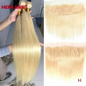 Brazilian Blonde Hair Bundles Straight Hair 613 Blonde Long Bundles with Lace Frontal Closure with Baby Hair With Frontal Remy