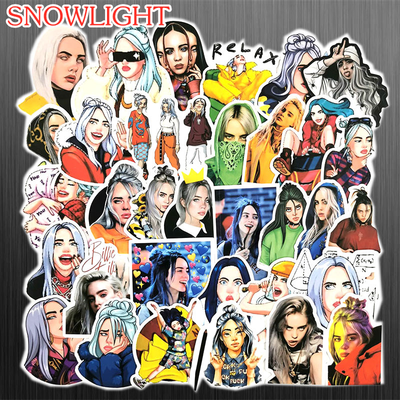 50pcs Lot Waterproof Billie Eilish Cartoon Sticker For Skateboard Suitcase Snowboard Guitar Motorcycle Laptop Toy Sticker