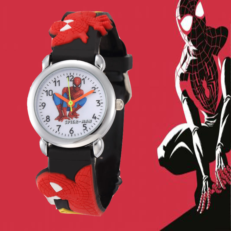 Boys Marvel Cartoon Spiderman Watch Hodinky Children Boys Kids Marvel Hero Silicone Watch Ceasuri Gift Saat Montre Enfant Garcon