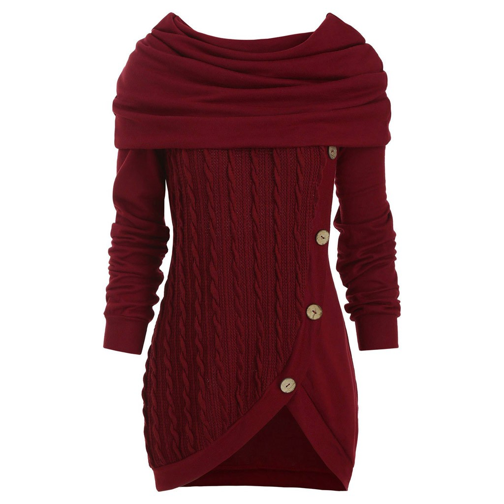 Plus Size 5xl Women Irregular Blouses Tops Knitted Ruched Scarf Collar Long Sleeve Button Hooded Tunic Blusas Mujer De Moda 2019