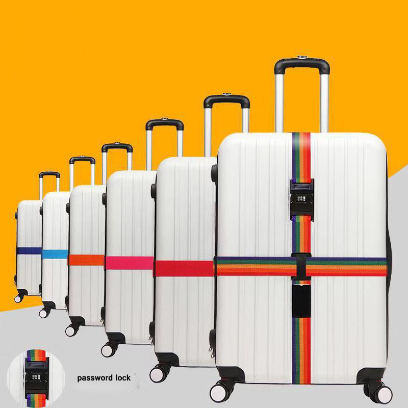 3 Digits Password Cross Luggage Belt Suitcase Band Adjustable Safety Bundle Luggage Rope Straps Travel Accessories