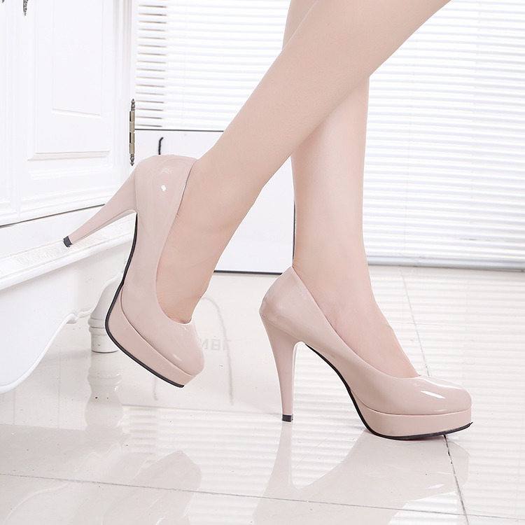 Autumn New Round Head Womens Shoes Work Shoes Waterproof Platform White Leather Shoes High Heels Stiletto 10 Cm Single Shoe 78u