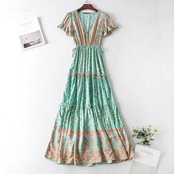 2020 BOHO Covered Button V neck Floral print Bohemia Dress Summer Ethnic Woman Short Sleeve Tie Bow Strappy Maxi Long Dresses 2