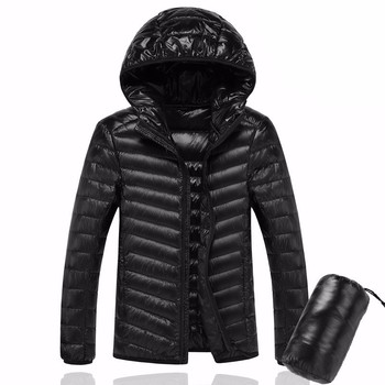 2021 Men Hooded UltraLight White Duck Down Jacket Warm Jacket Line Portable Package Men Pack Jacket image