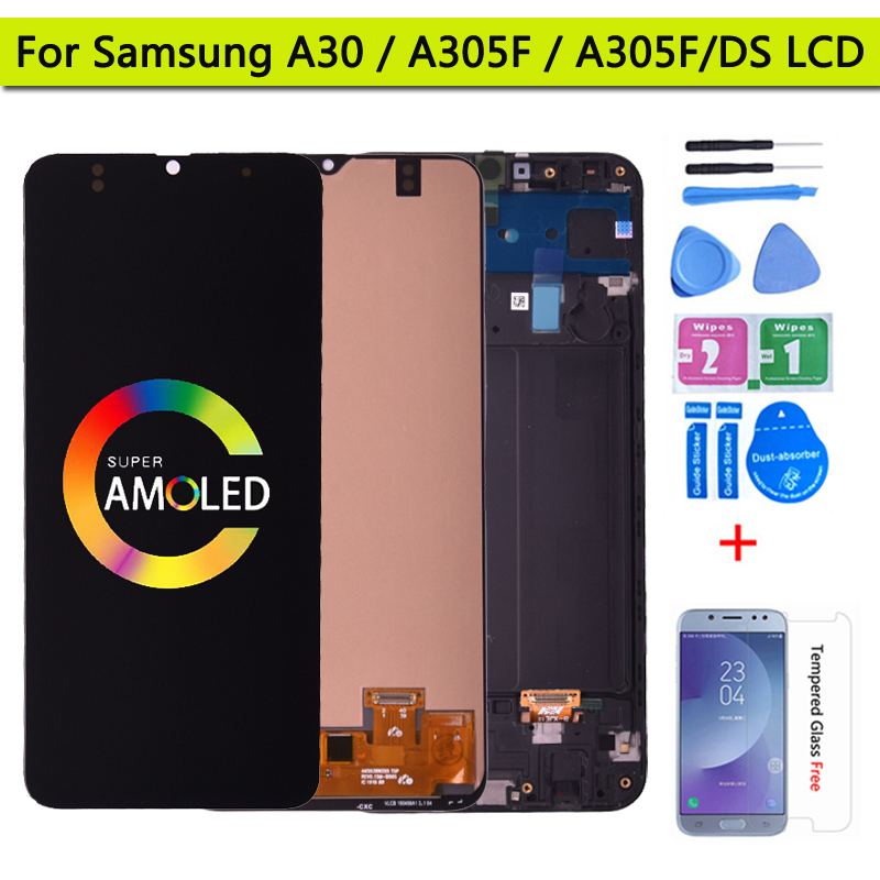 ЖК-дисплей Super Amoled для Samsung GALAXY A30, сенсорный экран с дигитайзером в сборе, A305/DS, A305FN, A305G, A305GN, A305YN