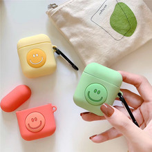 3D Fashion Solid Color Smiley For airpods case Cute Wireless Bluetooth Headset Airpods 1/2 Silicone Soft Case Charging Box