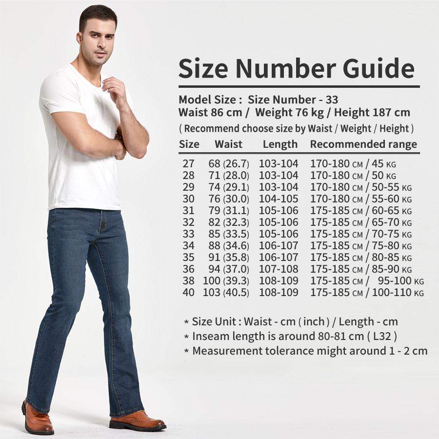 Men's Boot Cut Jeans Slightly Flared Slim Fit Famous Brand Blue Black jeans Designer Classic Male Stretch Denim jeans 6