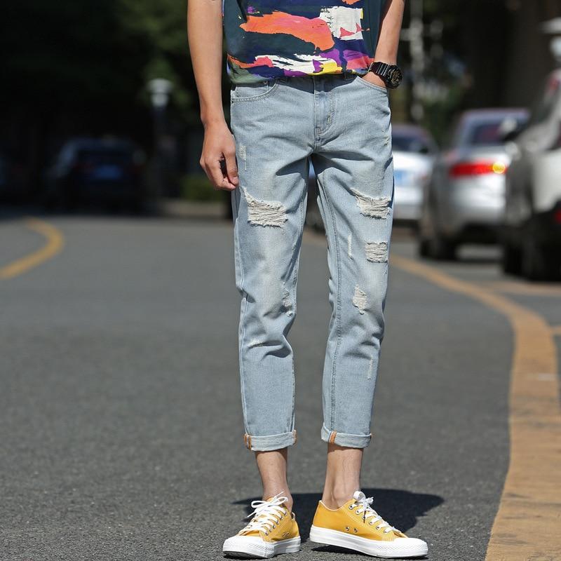 Men's With Holes Jeans Capri Pants Korean-style Slim Fit Cowboy Skinny Pants Versitile Fashion Youth Pants A208