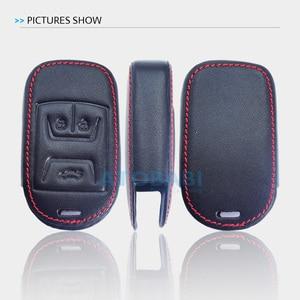 Image 5 - Real Leather Car Key Case For Chery Tiggo 3 5 Chery ARRIZO 3 7 Chery E3 E5 Bonus 3 Buttons Smart Remote Fob Cover Keychain Bag