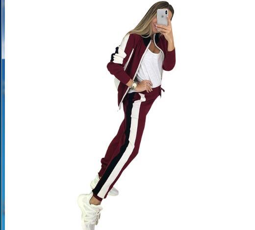Femmes Zip pull + pantalon crayon costumes automne rayure couture manches longues Cardigans pantalon tricoté 2 pièces ensembles femme bleu - 4