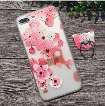 Matte 3D Relief Pink Sakura Flower Girl Pattern Phone Case For Phone 8 7 Plus Cover For Phone X 6S 5S SE With Finger Ring
