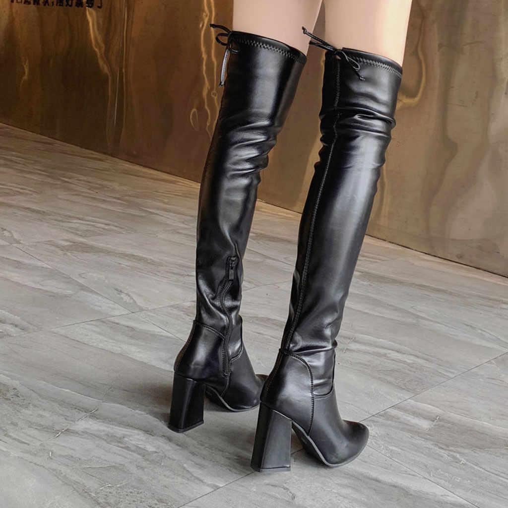 เซ็กซี่รองเท้าส้นสูงกว่าเข่าฤดูใบไม้ร่วงสีดำรองเท้าผู้หญิง Pointed Toe รองเท้าผู้หญิงฤดูหนาวรองเท้าขนาด 35 -39