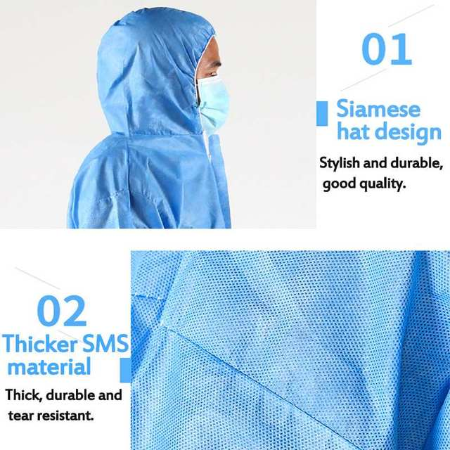 Protective Clothing Waterproof ppe suit Protective Gown Clothing FluidResistant Impervious 3