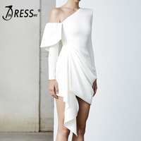 INDRESSME 2019 New Fashion Women Party Lady Club White Vestidos Sexy Off The Shoulder Asymmetrical Long Sleeve Draped Dress Ins
