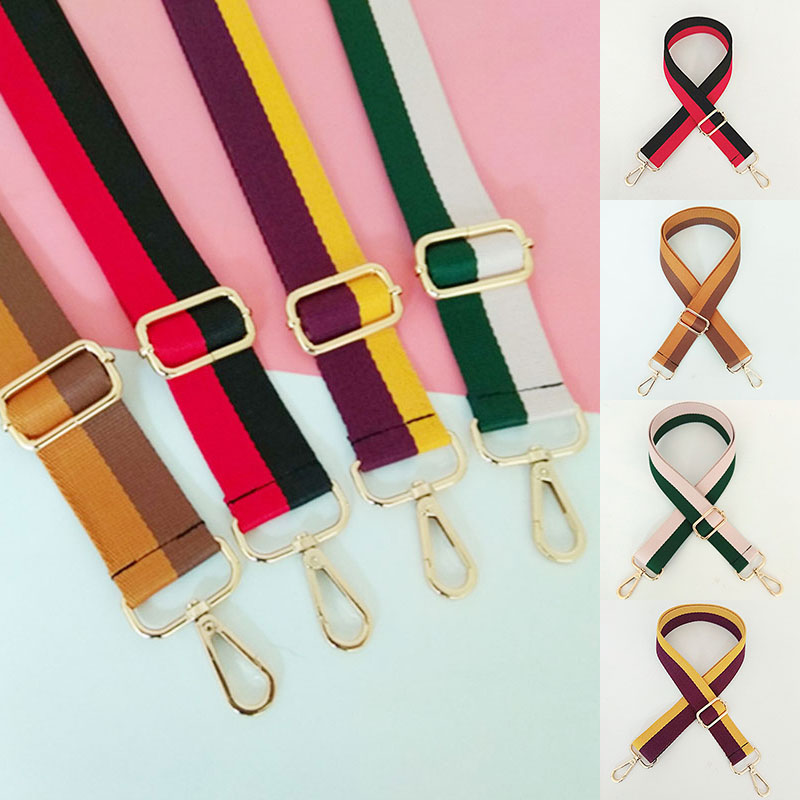 Fashion Belt Bags Wide Strap Accessories For Women Girl Striped Adjustable Shoulder Hanger Handbag Straps Decorative Chain Bag